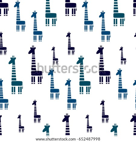 Seamless pattern with abstract giraffes. Vector flat background.Wrapping paper. Abstract geometric giraffes on white background.