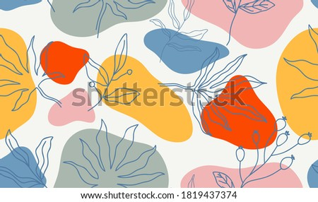 Seamless pattern with abstract leave. Creative floral surface design. Vector background Photo stock ©