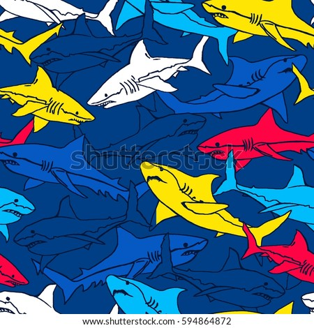 Seamless pattern with abstract shark symbols, design elements. Can be used for invitations, greeting cards, scrapbooking, textile print, gift wrap, manufacturing.