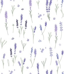 Seamless Pattern with abstract springs of lavander, flowers and leaves