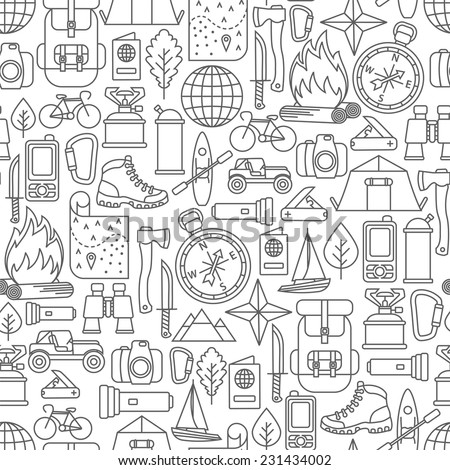 seamless pattern with adventure travel line icons