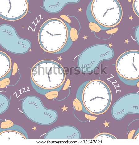 Seamless pattern with alarm clocks and masks for sleep, hand drawn icons. Colorful illustration with design elements. Decorative wallpaper, good for printing