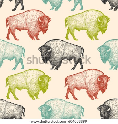 Seamless pattern with animals North America Bison. Hand drawing of wildlife. Vector illustration art. Black, white, green, blue and red color. Vintage. Design for fabrics, paper, textiles, fashion.