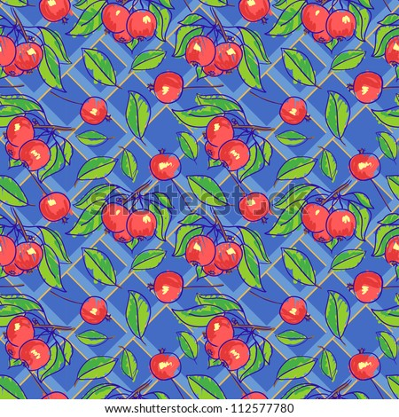 Seamless pattern with apples, branches and leafs