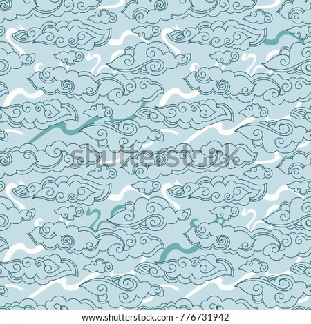 seamless pattern with asian