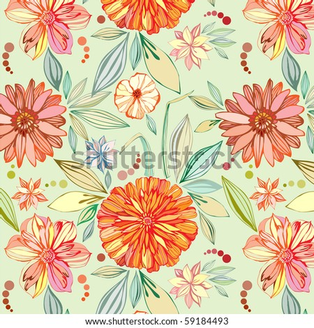 seamless pattern with asters