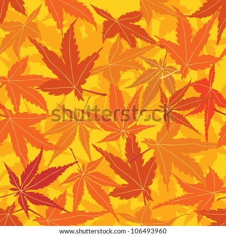 seamless pattern with autumn maple leaves, Print - stock vector