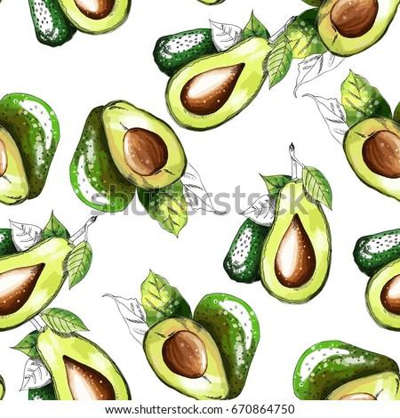 Seamless pattern with avocado.