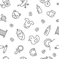 Seamless pattern with baby things, black and white icons