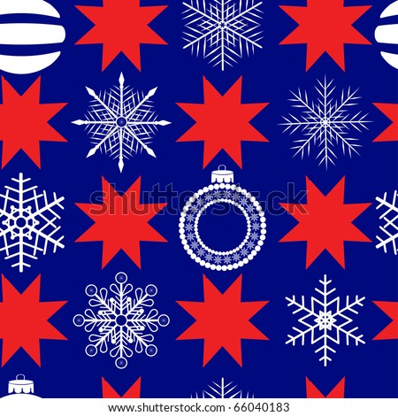 seamless pattern with balls, snowflakes and christmas stars. vector.