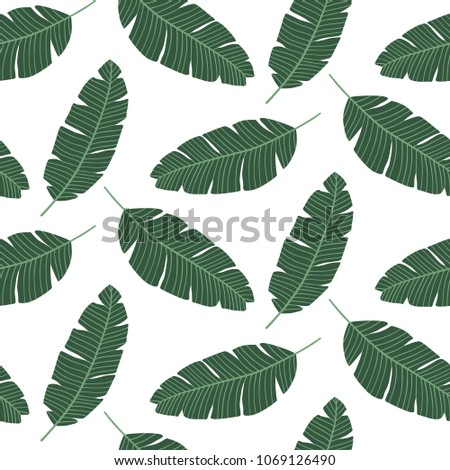 Seamless pattern with banana leaves. Tropical print  for textile, wrapping paper, wallpaper. Vector backdrop. #1069126490