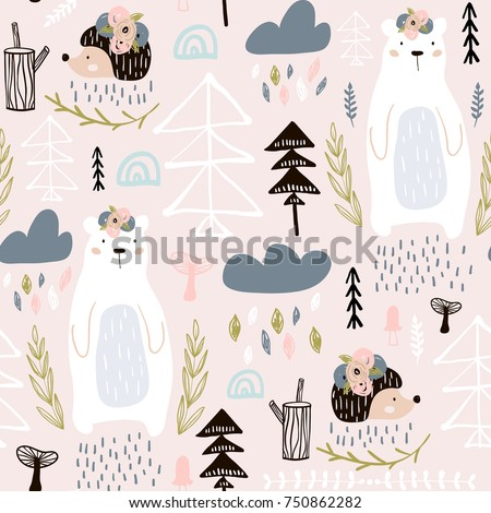 Seamless pattern with bear, floral elements,hedgehog. Creative forest height detailed background. Perfect for kids apparel,fabric, textile, nursery decoration,wrapping paper.Vector Illustration