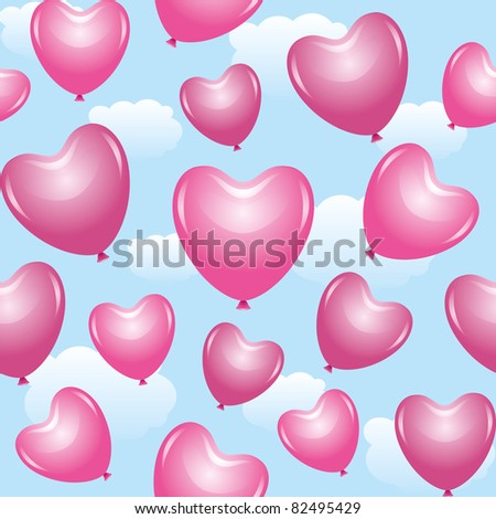 seamless pattern with beautiful pink balloons of hearts