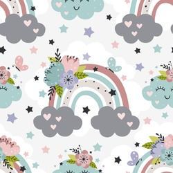 seamless pattern with beautiful rainbow, cloud and flowers  -  vector illustration, eps