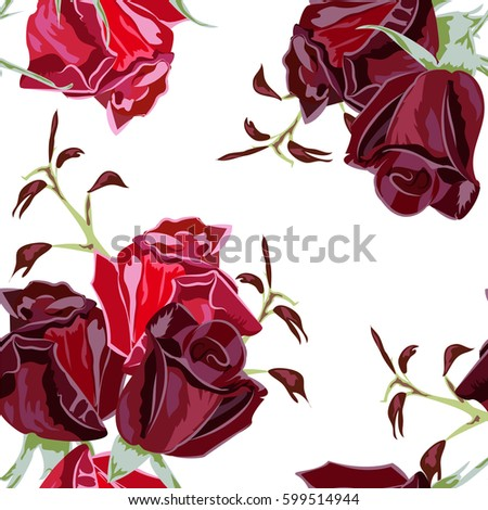Seamless Pattern With Beautiful Red Roses Vintage Floral Background For Textile Cover Wallpaper