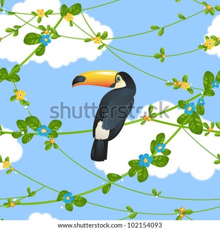 Seamless pattern with beautiful toucan sitting on tropical tree branches. Vector illustration. - stock vector