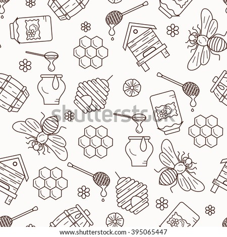 Seamless pattern with beehive, bee, apiary and honey symbols for healthy food designs.