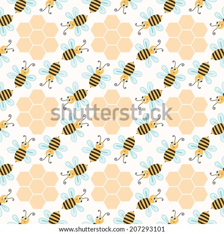 Seamless pattern with bees, decorative background
