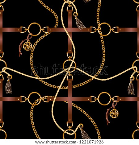 Seamless pattern with belts, chain and braid for fabric design.