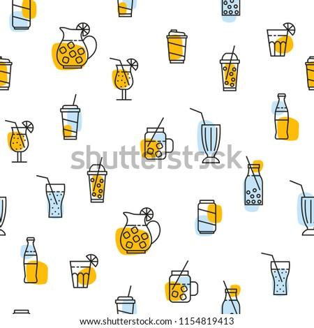 seamless pattern with beverage icons