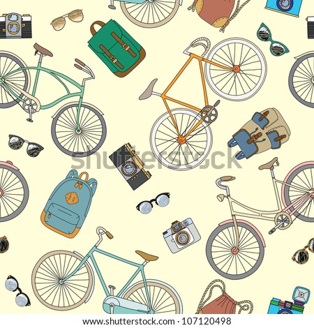 Seamless pattern with bicycles and accessories