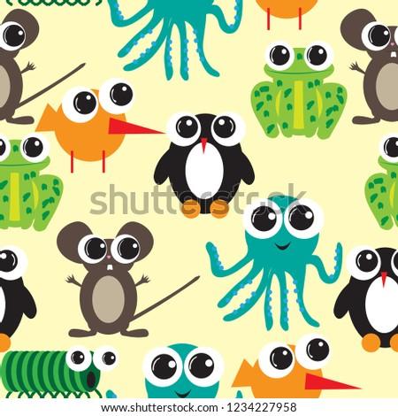 Seamless pattern with big eyes cartoon; flat desig