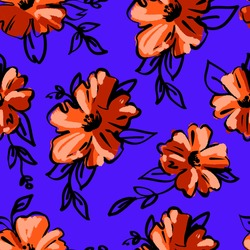 Seamless pattern with big orange  flowers. Trendy textile vector print.