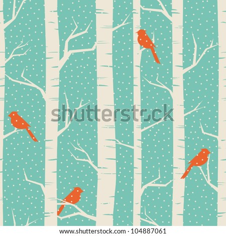 seamless pattern with birches