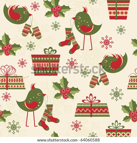 Seamless pattern with birds and gifts