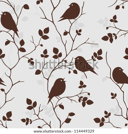 Seamless pattern with birds and twigs. Vector background with branches of tree