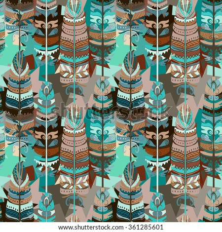 Seamless pattern with birds feathers  Tribal art animal