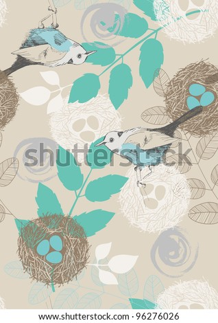 Seamless pattern with birds, nests and leaves