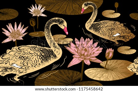 Seamless pattern with birds swans, flowers and leaves of water lily. Vector illustration art. Vintage engraving. Printing with gold foil, black, white and pink. Template for paper, textiles, wallpaper