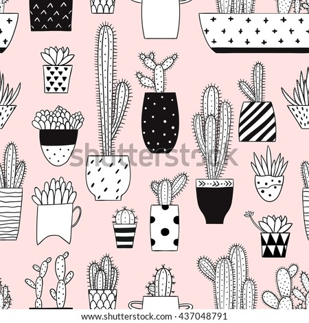 Seamless pattern with black and white cactus and succulents on pink background. Vector print with cactuses succulents in minimalistic geometric scandinavian style. Cute vector tile template