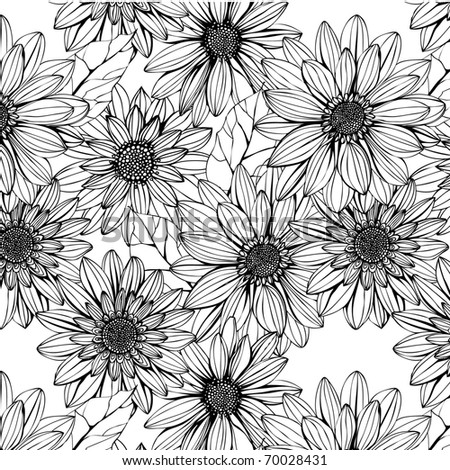 seamless pattern with black and white flowers