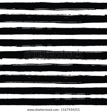 Seamless pattern with black and white striped. Hand drawn black and yellow paint strokes. Grunge style. Hand-drawn stripes, brush strokes, stars. Beautiful vector fashionable floral exotic background.