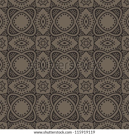 Seamless pattern with black lines and dots creating flourish, flower shapes, vector texture background.
