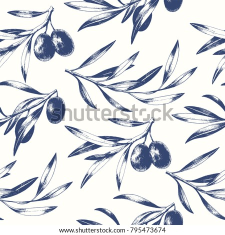 Seamless pattern with black olive branches. Elegant vector background.