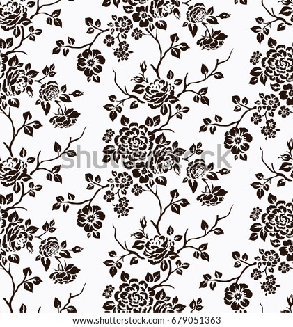 Seamless pattern with black silhouette of flowers on white background. Floral vintage background