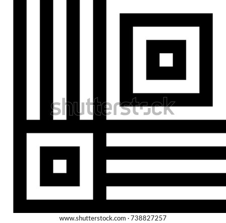 Seamless pattern with black white squares and striped lines. Optical illusion, illusive effect. Kinetic tile in op art. Vector hypnotic background, texture. Geometric frame, vibrant design.