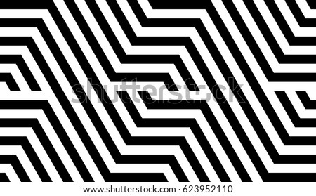 Shutterstock Seamless pattern with black white striped lines. Optical illusion effect. Geometric tile in op art style. Vector illusive background, texture. Futuristic element, technologic design.