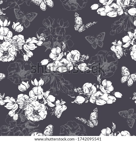 seamless pattern with blooming