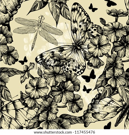 Seamless pattern with blooming phlox, butterflies and dragonflies. Vector illustration.