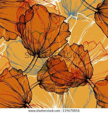 Seamless pattern with blooming tulips, hand-drawing. Vector illustration. eps10 - stock vector
