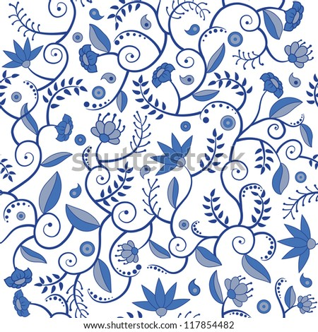 Seamless pattern with blue flowers, leaves and other elements