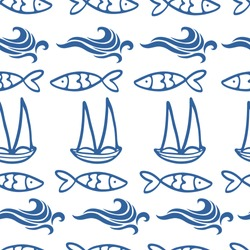 Seamless pattern with boats waves and sardines