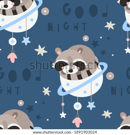 Seamless pattern with boho raccoon sleeping on planet, outer space, stars in bohemian style. Vector kids illustration for nursery design. Raccoon boho pattern for baby clothes, wrapping paper. Stock photo ©