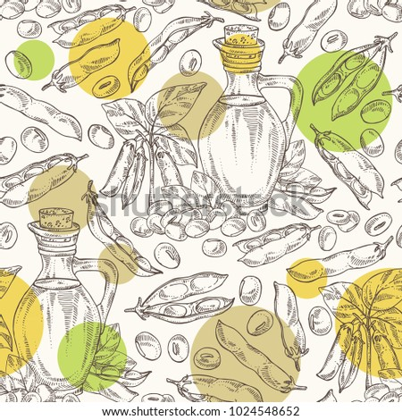 Seamless pattern with bottle of soybean oil, soy plant and soya beans. Vector hand drawn illustration.