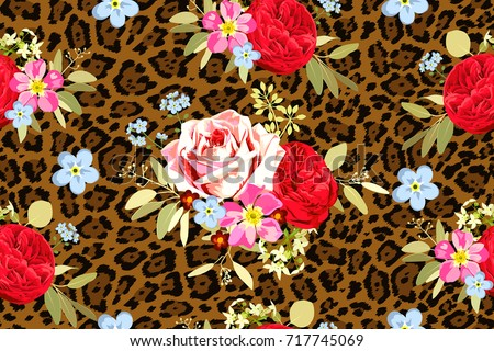 seamless pattern with bouquets