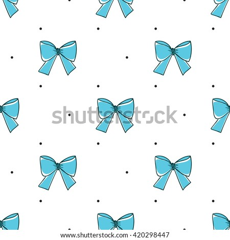 Seamless pattern with bows on a white background. Vector illustration.